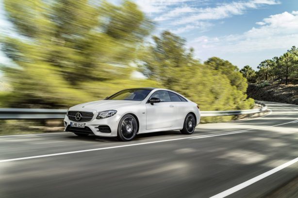 2018-mercedes-benz-e-class-coupe-amg-line-front-quarter-rolling