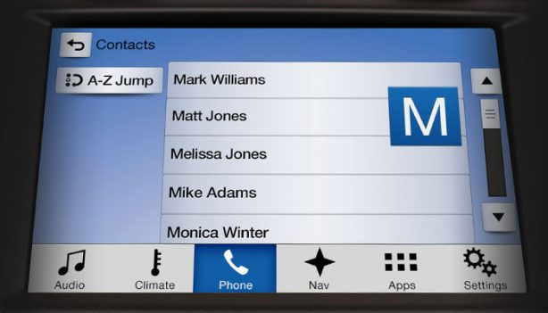 An A-Z Jump feature and responsive touch screen allows quick access to phone contacts.