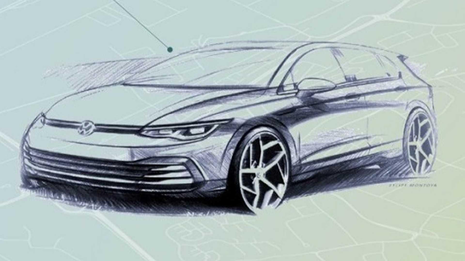 First glimpse: Volkswagen Golf 8's interior revealed in